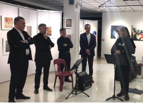 Gilles Bourdouleix (maire de Cholet), Michel Gabaret (directeur de la culture), Roger Masseu (adjoint à la culture)